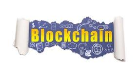 Blockchain текста за сорванной белой бумагой стоковые изображения