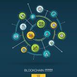Blockchain abstrait, crypto, fond de fintech Digital relient le système aux cercles intégrés, ligne mince plate icônes Images stock
