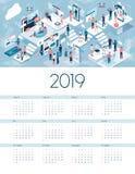 Blockchain av sakerkalendern 2019 stock illustrationer