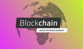 Blockchain on the background of the globe and blocks pattern. Stock Photos