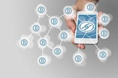Blockchain bakgrund med symboler arkivfoto