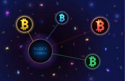 Blockchain begreppsbaner Royaltyfri Foto