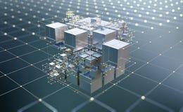 Free Blockchain, Big Data, Data Processing, Cloud Database. Virtuality And AI. Information Blocks, Digital, Financial, Internet Technol Stock Photography - 217085592