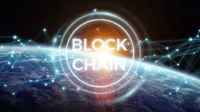 Blockchain bij aarde het 3D teruggeven Stock Fotografie