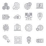 Blockchain, Bitcoin, εικονίδια Cryptocurrency καθορισμένα Bitcoin και blockchain τεχνολογία o διανυσματική απεικόνιση