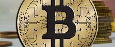 Blockchain Bitcoin - концепция бумажника bitcoin для оплаты всемирных виртуальных денег электронной Стоковые Изображения