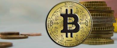 Blockchain Bitcoin - концепция бумажника bitcoin для оплаты всемирных виртуальных денег электронной Стоковое Фото