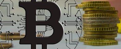 Blockchain Bitcoin - концепция бумажника bitcoin для оплаты всемирных виртуальных денег электронной Стоковые Фотографии RF