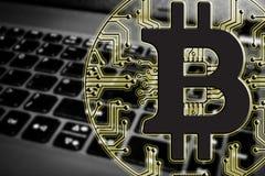 Blockchain Bitcoin - концепция бумажника bitcoin для оплаты всемирных виртуальных денег электронной Стоковое Изображение