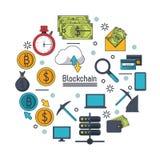 Blockchain和bitcoin 库存图片