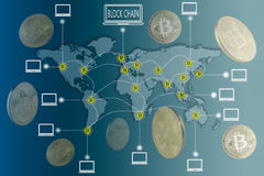 Blockchain and Bitcoin concept. Bitcoin icons connecting altogether over world map with golden bitcoins  floating around. Elements of this image furnished by Stock Photos