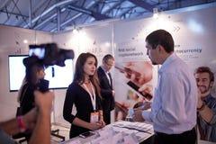 MOSCOW, RUSSIA - NOVEMBER 15-16, 2017. Blockchain and Bitcoin Conference. Expo at Sokolniki Exhibition Center. Royalty Free Stock Photos