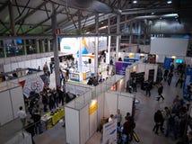 MOSCOW, RUSSIA - NOVEMBER 15-16, 2017. Blockchain and Bitcoin Conference. Expo at Sokolniki Exhibition Center. Aerial Royalty Free Stock Photography