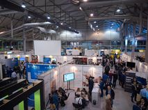 MOSCOW, RUSSIA - NOVEMBER 15-16, 2017. Blockchain and Bitcoin Conference. Expo at Sokolniki Exhibition Center. Aerial Stock Image