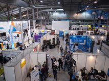 MOSCOW, RUSSIA - NOVEMBER 15-16, 2017. Blockchain and Bitcoin Conference. Expo at Sokolniki Exhibition Center. Aerial Stock Photography
