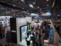 MOSCOW, RUSSIA - NOVEMBER 15-16, 2017. Blockchain and Bitcoin Conference. Expo at Sokolniki Exhibition Center. Aerial Stock Photo
