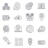 Blockchain, Bitcoin, Cryptocurrency icons set. Bitcoin and blockchain technology. Editable Stroke vector illustration