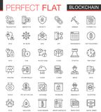 Blockchain, bitcoin cryptocurrency thin line web icons set. Outline stroke icon design. Blockchain, bitcoin cryptocurrency thin line web icons set. Outline Royalty Free Stock Image