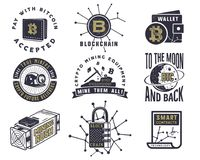 Blockchain, bitcoin, emblemas criptos das moedas e conceitos ajustados Logotipos dos ativos de Digitas Monochrome tirado han do v Imagem de Stock Royalty Free