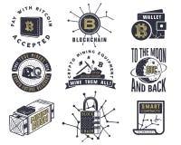 Blockchain, bitcoin, emblemas crypto de las monedas y conceptos fijados Logotipos de los activos de Digitaces Monocromo dibujado  Imagen de archivo libre de regalías