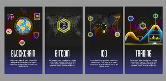Blockchain, Bitcoin, Ico and Trading vector poster, banner set. Cryptocurrency and blockchain poster, banner set. Vector glowing neon light illustration Stock Photos
