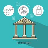 Blockchain and bitcoin technology concept. Blockchain and bitcoin technology finance concept vector illustration graphic design Stock Photography