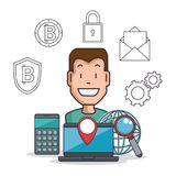 Blockchain and bitcoin technology concept. Blockchain and bitcoin technology finance concept vector illustration graphic design Stock Image