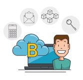 Blockchain and bitcoin technology concept. Blockchain and bitcoin technology finance concept vector illustration graphic design Royalty Free Stock Photography