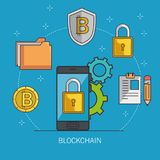 Blockchain and bitcoin technology concept. Blockchain and bitcoin technology finance concept vector illustration graphic design Royalty Free Stock Images