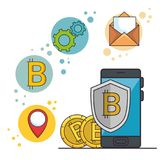 Blockchain and bitcoin technology concept. Blockchain and bitcoin technology finance concept vector illustration graphic design Royalty Free Stock Image