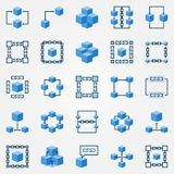 Blockchain blue icons set - vector block chain symbols. Blockchain blue icons set - vector block chain technology concept flat symbols. Chain and cube design Stock Image