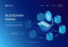 Blockchain bryta Gruvarbetaren för kryptografimyntvaluta på bärbara datorn förband till blockchainbitcoinnätverket kommers e stock illustrationer