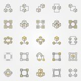 Blockchain colored icons set. Vector block chain technology sign. Blockchain colored icons set. Vector block chain technology creative signs or logo elements Royalty Free Stock Images