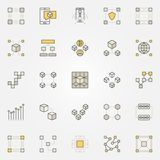 Blockchain colorful icons. Decentralization and transactions creative symbols. Digital currency technology concept signs Royalty Free Stock Images