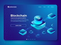 Blockchain composition. Cryptography anonymous cryptocurrency payments platform. Secure connection isometric vector stock illustration