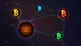 Blockchain concept banner on background of stock market graph. Blockchain cryptocurrencies global network technology e-commerce business management. Candle stock images