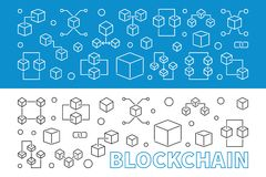 2 blockchain concept banners or backgrounds in thin line style. Block chain vector creative illustration Royalty Free Stock Image
