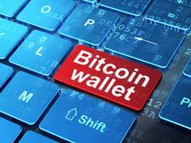Blockchain concept: Bitcoin Wallet on computer keyboard background. Blockchain concept: computer keyboard with word Bitcoin Wallet on enter button background, 3D Royalty Free Stock Photo