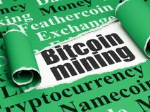 Blockchain concept: black text Bitcoin Mining under the piece of  torn paper. Blockchain concept: black text Bitcoin Mining under the curled piece of Green torn Royalty Free Stock Photos