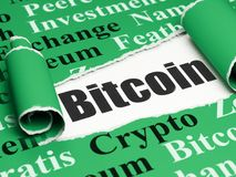 Blockchain concept: black text Bitcoin under the piece of  torn paper. Blockchain concept: black text Bitcoin under the curled piece of Green torn paper with Stock Photography