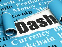 Blockchain concept: black text Dash under the piece of  torn paper. Blockchain concept: black text Dash under the curled piece of Blue torn paper with  Tag Cloud Royalty Free Stock Photos
