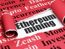 Blockchain concept: black text Ethereum Mining under the piece of  torn paper. Blockchain concept: black text Ethereum Mining under the curled piece of Red torn Royalty Free Stock Image