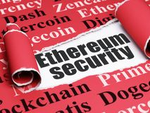 Blockchain concept: black text Ethereum Security under the piece of  torn paper. Blockchain concept: black text Ethereum Security under the curled piece of Red Royalty Free Stock Photos