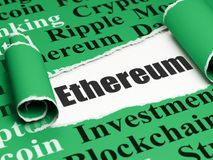 Blockchain concept: black text Ethereum under the piece of  torn paper. Blockchain concept: black text Ethereum under the curled piece of Green torn paper with Stock Photography