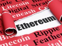 Blockchain concept: black text Ethereum under the piece of  torn paper. Blockchain concept: black text Ethereum under the curled piece of Red torn paper with Stock Images