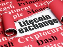 Blockchain concept: black text Litecoin Exchange under the piece of  torn paper. Blockchain concept: black text Litecoin Exchange under the curled piece of Red Stock Photo