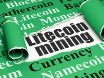 Blockchain concept: black text Litecoin Mining under the piece of  torn paper. Blockchain concept: black text Litecoin Mining under the curled piece of Green Stock Images