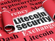 Blockchain concept: black text Litecoin Security under the piece of  torn paper. Blockchain concept: black text Litecoin Security under the curled piece of Red Stock Photo