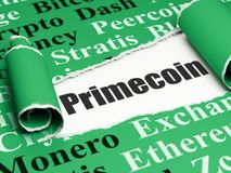 Blockchain concept: black text Primecoin under the piece of  torn paper. Blockchain concept: black text Primecoin under the curled piece of Green torn paper with Royalty Free Stock Photo