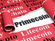 Blockchain concept: black text Primecoin under the piece of  torn paper. Blockchain concept: black text Primecoin under the curled piece of Red torn paper with Stock Photos